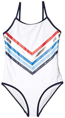 Tommy Hilfiger Chevron Stripe One-Piece Swimsuit (Big Kids) (White) Girl's Swimsuits One Piece