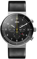 Braun Men's Quartz Watch with Black Dial Analogue Display and Black Leather Strap BN0095SLG