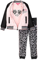 Betsey Johnson Varsity Fuzzy Jacket, Tee, & Jogger Pant Set (Little Girls)