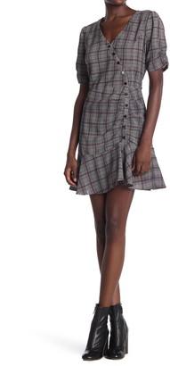 Heartloom Plaid Asymmetrical Button Dress