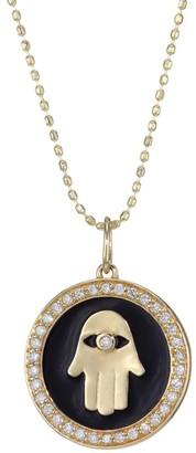 Sydney Evan Diamond, 14K Yellow Gold & Black Enamel Hamsa Charm Necklace
