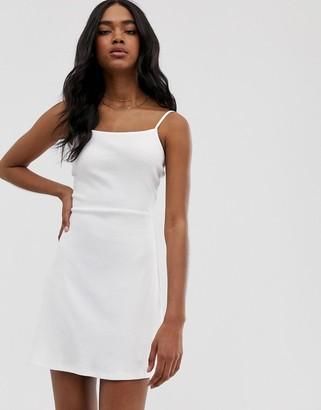 Asos Design DESIGN mini square neck sundress in rib-White