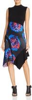 DKNY Asymmetric Floral Mixed Media Dress