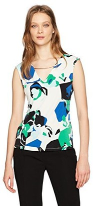 Calvin Klein Women's Sleeveless Printed Top with Curved Hardware