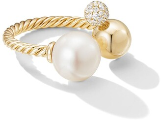 David Yurman 18kt yellow gold Solari diamond and pearl open cluster ring
