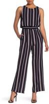 Eliza J Striped Wide Leg Jumpsuit (Petite)