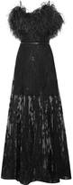 Elie Saab Embellished Embroidered Tulle Gown - Black