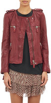 Etoile Isabel Marant Women's Kady Washed Leather Moto Jacket-BURGUNDY
