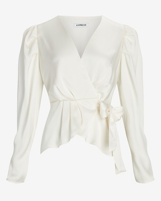 Express Satin Pleated Sleeve Wrap Front Bow Top