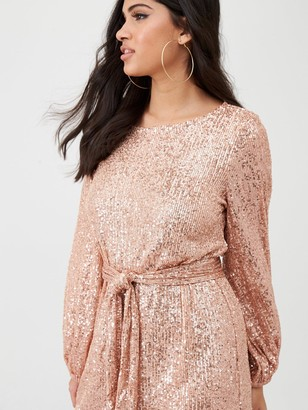 River Island Sequin Puff Sleeve Belted Mini Dress-rose Gold