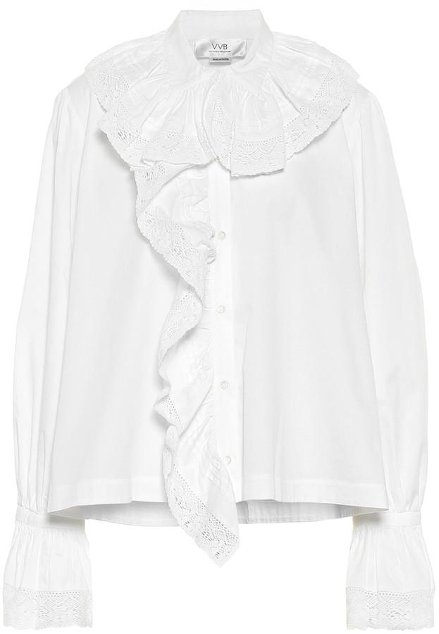 Victoria Victoria Beckham Ruffled cotton-poplin shirt