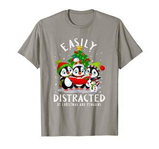 Easily Distracted By Christmas Penguins Costume Funny Xmas T-Shirt