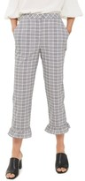 Topshop Women's Slim Fit Check Ruffle Capri Pants