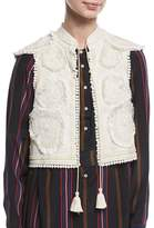 Figue Manolete Beaded Embroidered Cropped Vest