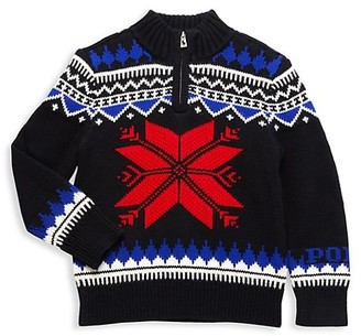 Polo Ralph Lauren Little Boy's Front-Zip Fair Isle Sweater