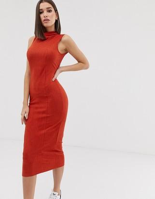 Asos Design DESIGN midi rib dress with high neck