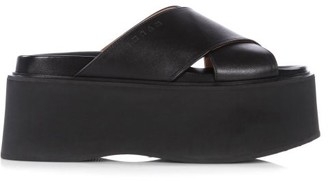 Marni Fussbett Flatform Leather Sandals - Black