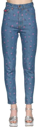 Marc Jacobs High Waist Printed Denim Straight Jeans