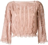 RED Valentino lace straight-neck blouse