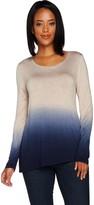 Lisa Rinna Collection Dip Dye Asymmetric Hem Long Sleeve Top