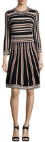 Kate Spade Long-Sleeve Striped Fit-And-Flare Dress