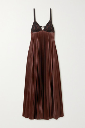 Christopher Kane Cutout Lace-paneled Pleated Satin Maxi Dress - Dark brown