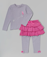 Magnificent Baby Gray Fairy Magnetic Closure Tee & Skirted Leggings - Infant