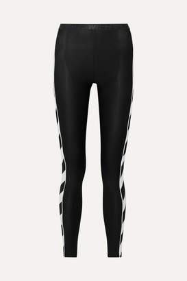 Off-White Off White Striped Stretch Leggings - Black