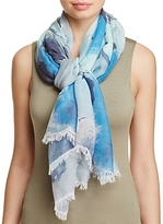 Aqua Watercolor Floral Scarf - 100% Exclusive