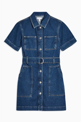 Topshop Denim Patch Pocket Shirt Dress - Blue