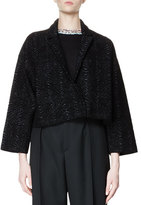 Lanvin Bracelet-Sleeve Oversized Moire Jacket, Black