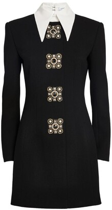 Andrew Gn Contrast-Collar Embellished Mini Dress