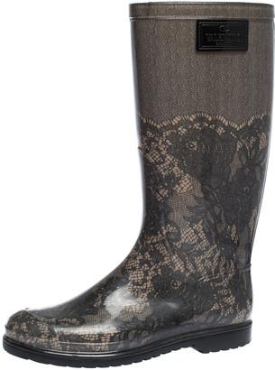 Valentino Grey/Black Lace Print Rubber Rain Boots Size 39
