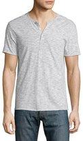 John Varvatos Reverse Striped Short-Sleeve Henley Shirt, Smoke