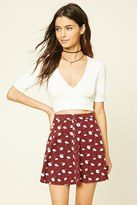 Forever 21 FOREVER 21+ Floral Print Snap-Button Mini Skirt