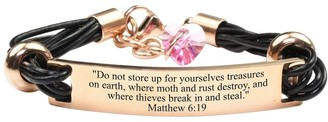 Pink Box Genuine Leather Scripture Bracelet with Crystals from Swarovski Matthew 6:19 Rose Gold