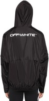 Off White Logo Print Zip Up Shell Nylon Jacket
