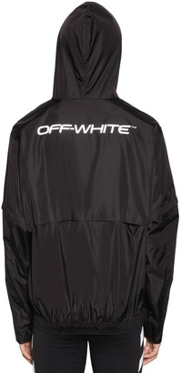 Off-White Logo Print Zip Up Shell Nylon Jacket