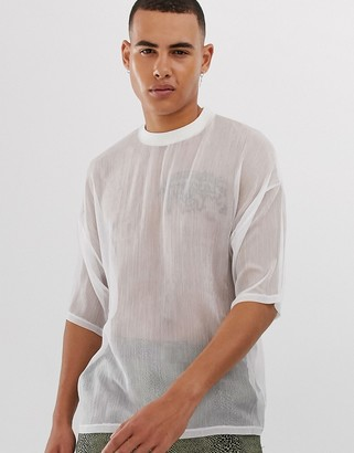Asos Design DESIGN oversized t-shirt with half sleeve in sheer fabric in white