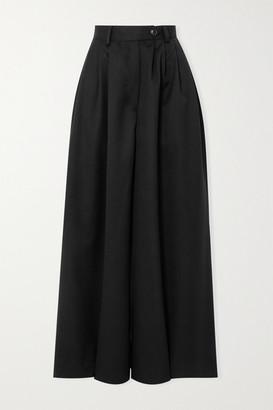 KING & TUCKFIELD Wool-twill Wide-leg Pants - Black