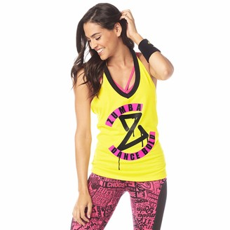 Zumba Graphic Print Fitness Halter Neck Tops Women Breathable Athletic Gym Top