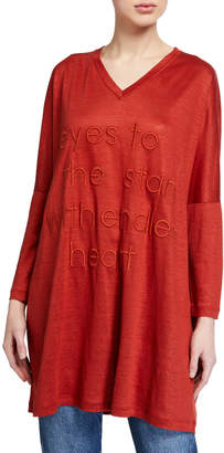 Brunello Cucinelli Eyes to the Stars Embroidered Linen/Silk T-Shirt