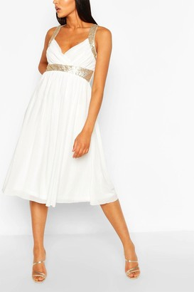 boohoo Boutique Sequin Panel Mesh Midi Dress