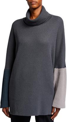 eskandar Slopped-Shoulder Colorblock Silk/Cashmere Sweater
