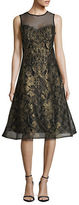 Teri Jon Illusion Metallic Lace Dress