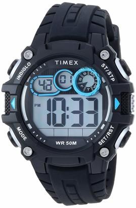 Timex Men's TW5M27300 DGTL Big Digit 48mm Black/Gray/Blue Silicone Strap Watch