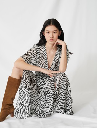 Maje Long lurex jacquard zebra-print dress