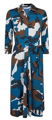 Dorothy Perkins Womens Tall Blue Camouflage Print Shirt Dress, Blue