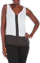 Vince Camuto Color Blocked Dotted Blouse