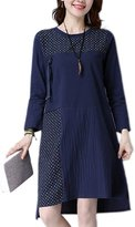 Moonpin Women Long Sleeve Polka Dot Patchwork Oversize Cotton&Linen Dress M